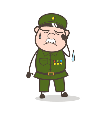 Cartoon of an old weeping soldier.