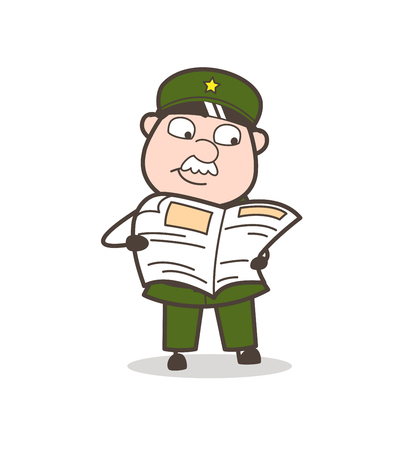Cartoon of an old soldier reading a news paper. Ilustrace