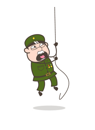 Cartoon of an old soldier hanging on a rope.