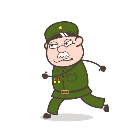 Cartoon a worried running old soldier. Иллюстрация