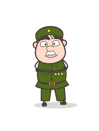 Cartoon of an old soldier on a waiting position.