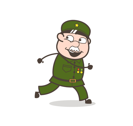 Cartoon of a happy old soldier who is running. Ilustrace
