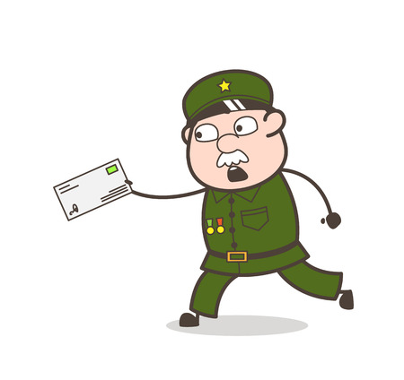 Cartoon of an old soldier running with an envelope.