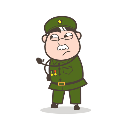 Cartoon of an old soldier on an explaining mode.