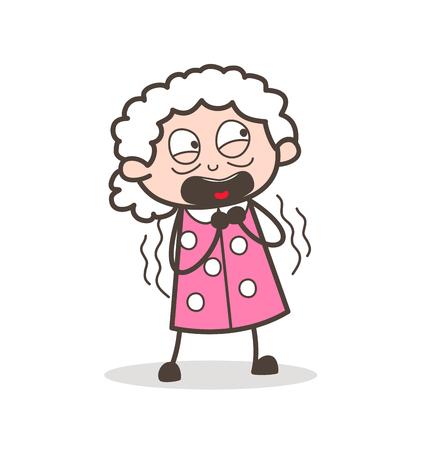 Cartoon Grandma Astonished Face Expression Vector Illustration.