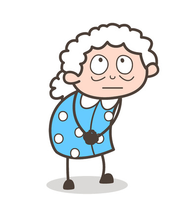 Cartoon Innocent Granny Face Expression Vector Illustration. Illustration