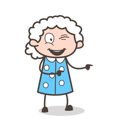 Cartoon Funny Naughty Granny Vector Character.