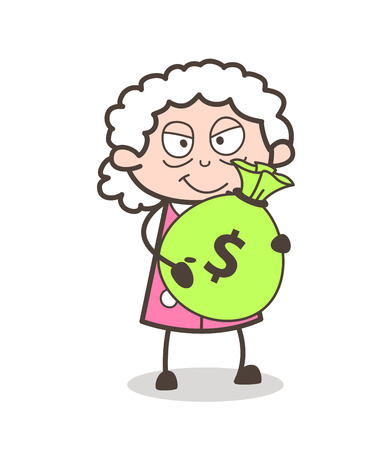 Cartoon Evil Old Lady Holding a Money Bag Vector Illustration.