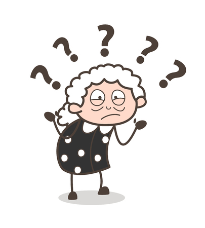 Cartoon Confused Old Woman Expression Vector Illustration.