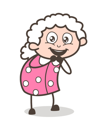 Cartoon Excited Old Woman Expression Vector Illustration.
