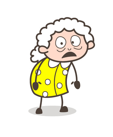 Cartoon Scared Old Woman Face Expression Vector Illustration.