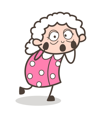 Cartoon Shocked Granny Expression Vector Illustration Çizim