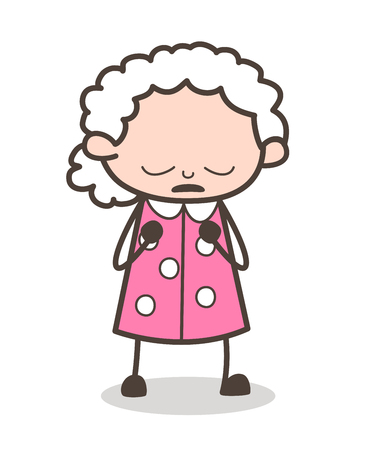 Cartoon Grandma Pensive Face Vector Illustration