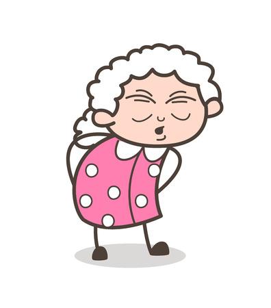 Cartoon Old Granny Having Pain in Waist Vector Illustration