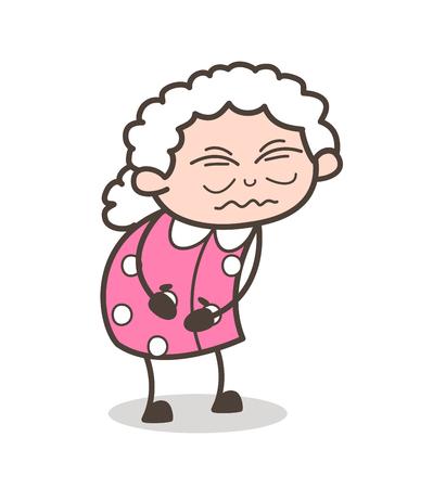 만화 고통 오래 된 할머니 벡터 일러스트 레이 션