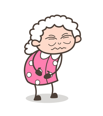Cartoon Old Grandma Having Pain Vector Illustration