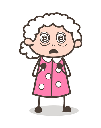 Cartoon Hypnotized Old Woman Face Expression Vector Illustration