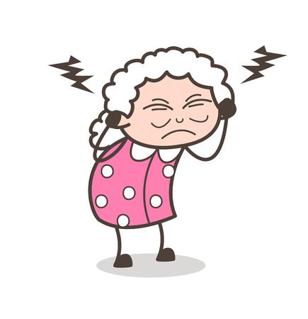 irritated: Cartoon Irritated Grandmother Vector Illustration