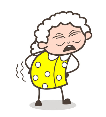 Cartoon Old Grandma Getting Ache in Waist Vector Illustration