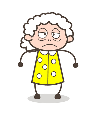 Cartoon Sick Old Lady Face Expression Vector Illustration