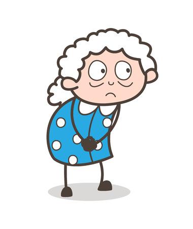 flushed: Cartoon Shocked Old Woman Face Expression Vector Illustration Illustration