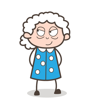 Cartoon Clever Old Lady Face Expression Vector Illustration