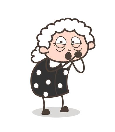 flushed: Cartoon Shocked Old Granny Face Expression Vector Illustration