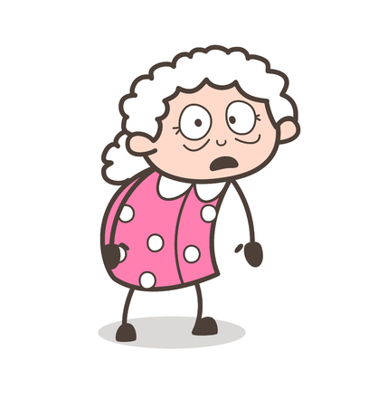 flushed: Cartoon Fearful Old Woman Expression Vector Illustration