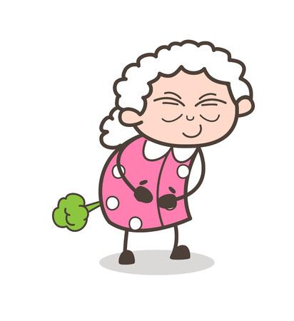 Cartoon Funny Old Woman Making Fart Vector Illustration Illustration