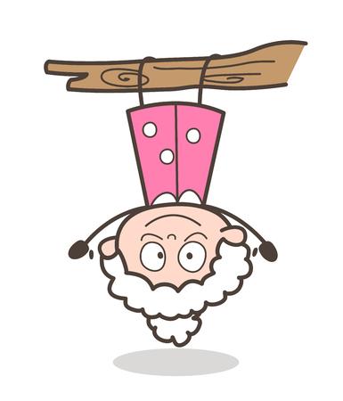upside: Cartoon Funny Granny Hanging Upside Down Vector Illustration