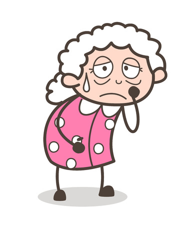 Cartoon Old Lady Crying Face Expression Vector Illustration Banco de Imagens - 83686473