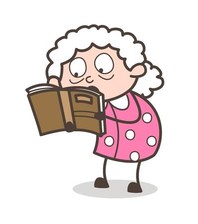 Cartoon Granny Reading Book Vector Illustration