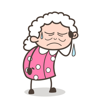 Cartoon Sad Old Lady Crying Vector Illustration