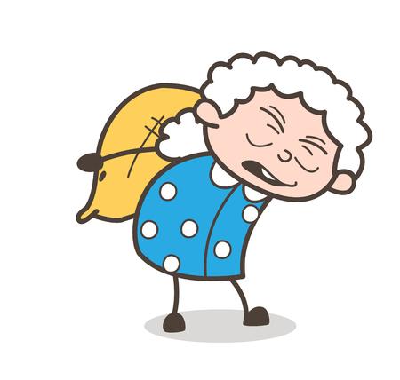 袋のベクトル図のパックを運ぶ漫画古い女性労働