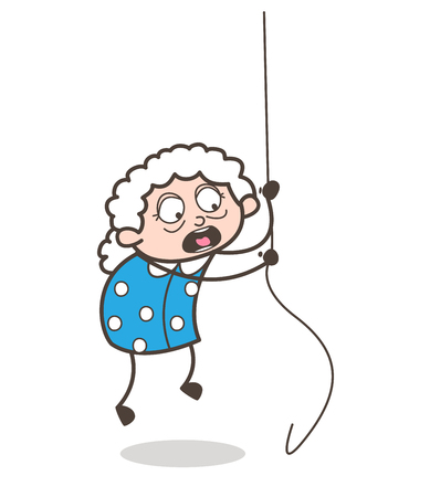 daring: Cartoon Old Lady Falling Down When Climbing Rope Vector Illustration