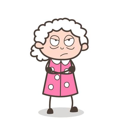 Cartoon Aggressive Granny Face Expression Vector Illustration