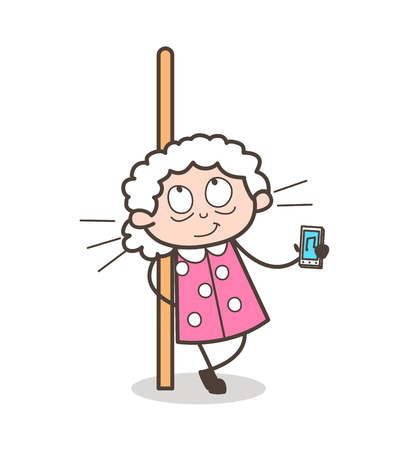 Cartoon Grandma Listening Music with Music Device Vector Illustration