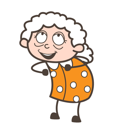 Cartoon Happy Old Woman Expression and Pose Vector Illustration Illustration