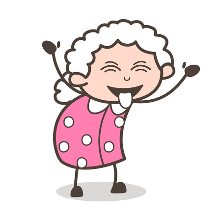 Cartoon Naughty Grandma Face with Stuck-Out Tongue and Closed Eyes Vector