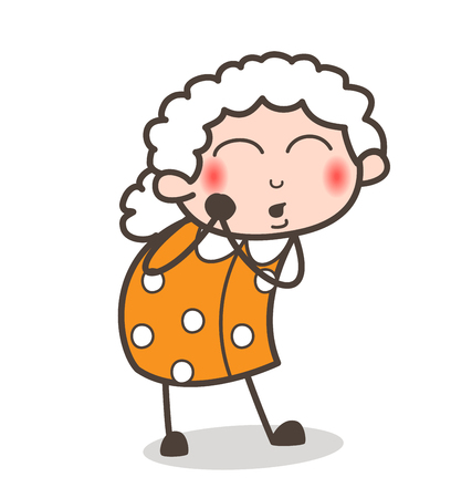 Cartoon Curious Granny Blushing Face Expression Vector Illustration