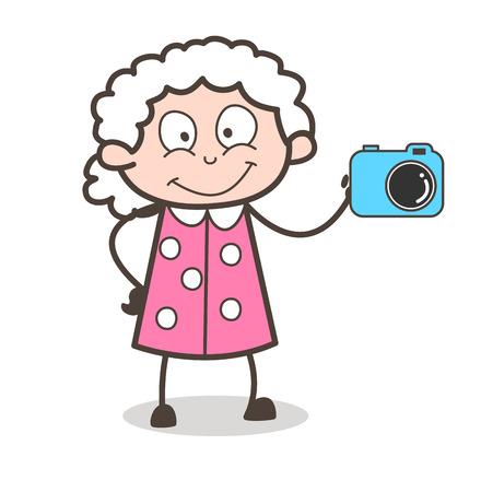 カメラのベクトル図を示す漫画おばあちゃん