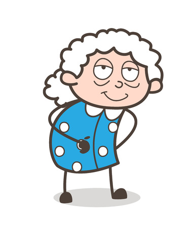 Cartoon Satisfied Old Woman Face Expression Vector Illustration
