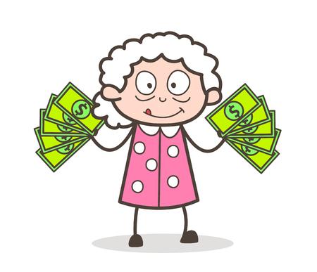 Cartoon Old Woman Showing Money Vector Illustration Иллюстрация