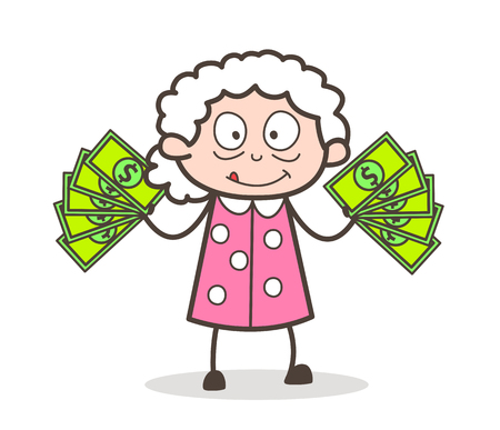 Cartoon Old Woman Showing Money Vector Illustration Illustration