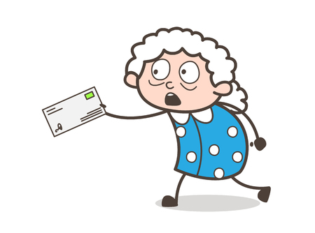Cartoon Old Lady Running to Deliver the Letter Vector Illustration