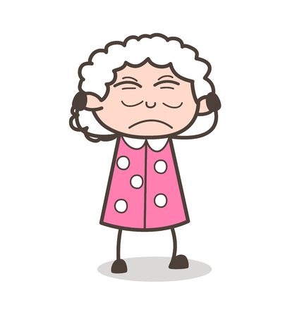 Cartoon Irritated Old Lady Face Expression Vector Illustration