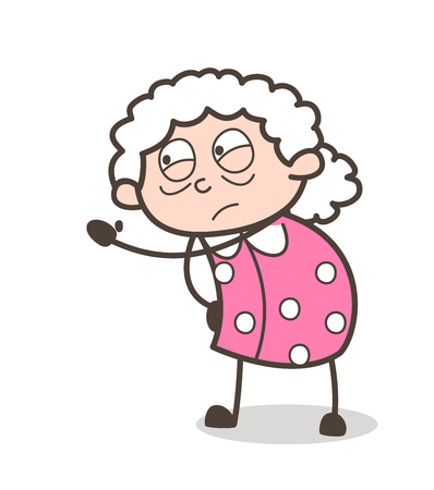 Cartoon Old Lady Frowning Face Expression Vector Illustration Illustration