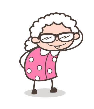 Cartoon grand-mère à la mode avec des lunettes de soleil fantaisie illustration vectorielle Banque d'images - 83686564