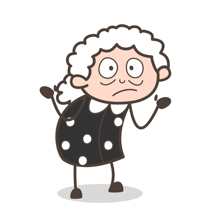 Cartoon Worried Old Lady Face Expression Vector Illustration