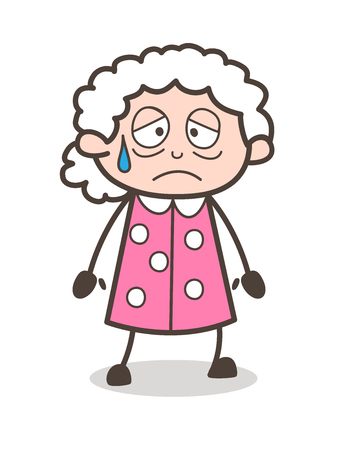 Cartoon Emotional Old Lady Face Expression Vector Illustration